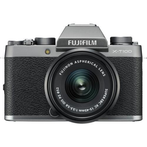 FUJIFILM X-T100 Mirrorless Digital Camera with 15-45mm Lens (Dark Silver)