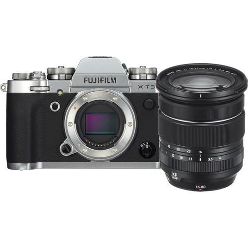 FUJIFILM X-T3 Mirrorless Digital Camera with 16-80mm Lens Kit (Silver)