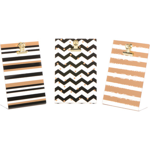 FUJIFILM INSTAX Photo Clipboards (3-Pack, Gold/Black/Chevrons)