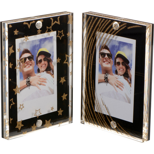 FUJIFILM INSTAX Large Magnetic Frames (Black/Gold Stars & Stripes, 2-Pack)