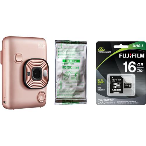 FUJIFILM INSTAX Mini LiPlay Hybrid Instant Camera with Film and Memory Card Bundle (Blush Gold)