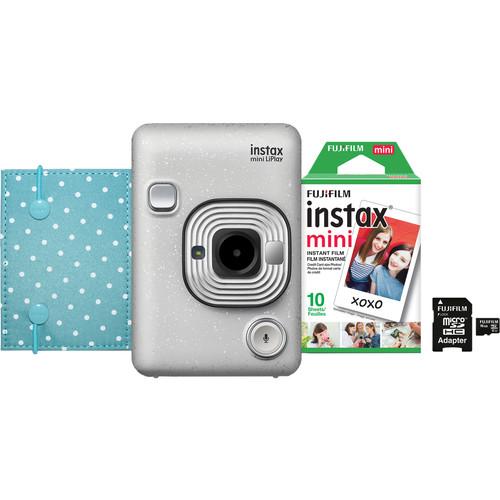 FUJIFILM INSTAX Mini LiPlay Hybrid Instant Camera Bundle (Stone White)