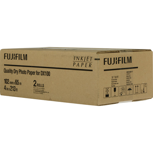 """FUJIFILM Quality Dry Photo Paper for Frontier-S DX100 Printer (Glossy, 4"""" x 213' Roll, 2-Pack)"""