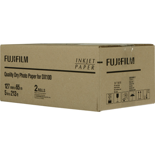 "Fujifilm Quality Dry Photo Paper for Frontier-S DX100 Printer (Glossy, 5"" x 213' Roll, 2-Pack)"