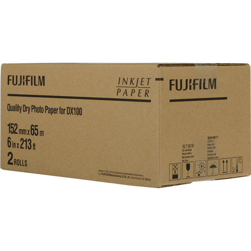 "Fujifilm Quality Dry Photo Paper for Frontier-S DX100 Printer (Glossy, 6"" x 213' Roll, 2-Pack)"