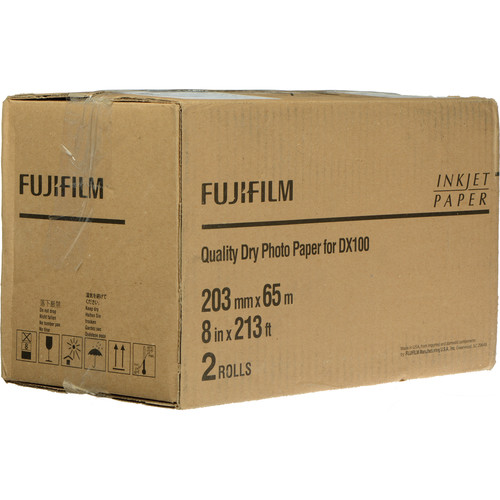 "Fujifilm Quality Dry Photo Paper for Frontier-S DX100 Printer (Lustre, 8"" x 213' Roll, 2-Pack)"