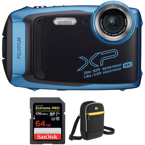 FUJIFILM FinePix XP140 Digital Camera with Accessories Kit (Sky Blue)