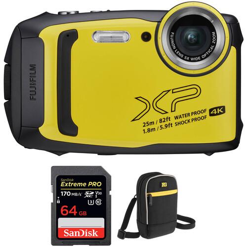 FUJIFILM FinePix XP140 Digital Camera with Accessories Kit (Yellow)