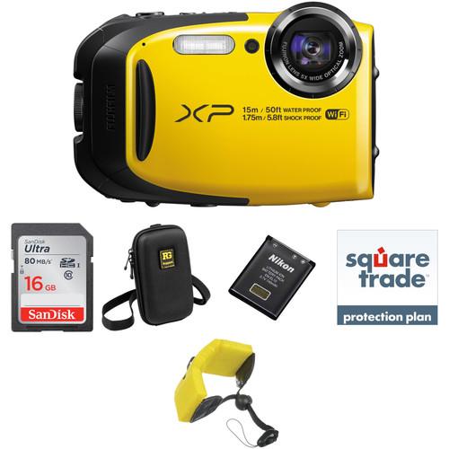 Fujifilm FinePix XP80 Digital Camera Deluxe Kit (Yellow)