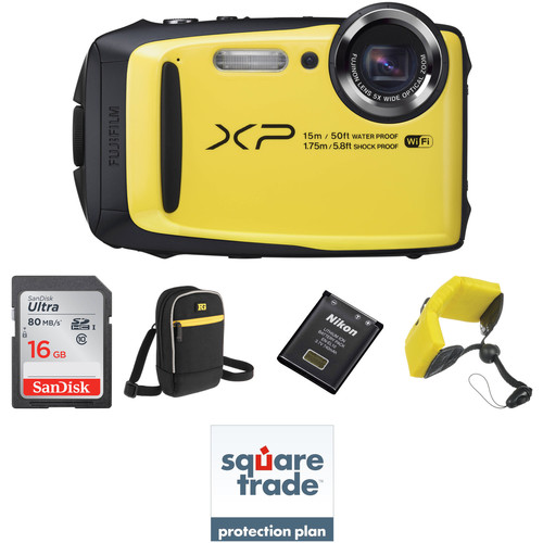 Fujifilm FinePix XP90 Digital Camera Deluxe Kit (Yellow)