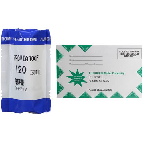 FUJIFILM Fujichrome Provia 100F Professional RDP-III Color Transparency Film with Processing Mailer Kit (120 Roll Film)
