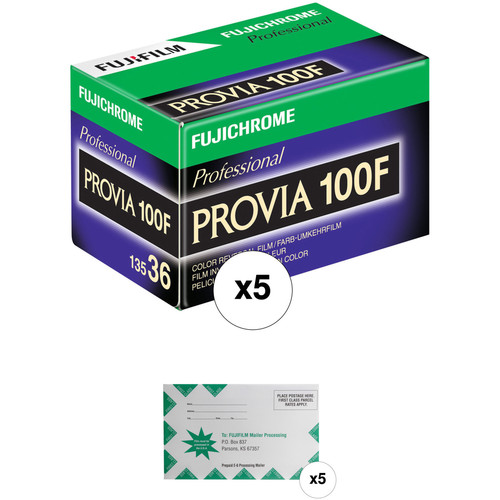 FUJIFILM Fujichrome Provia 100F Professional RDP-III Color Transparency Film with Processing Mailer Kit (35mm Roll Film, 36 Exposures, 5-Pack, Expired 01/19)