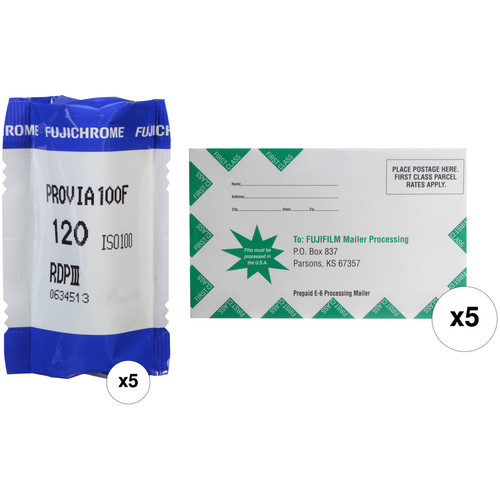 FUJIFILM Fujichrome Provia 100F Professional RDP-III Color Transparency Film with Processing Mailer Kit (120 Roll Film, 5-Pack)