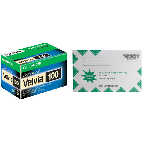 FUJIFILM Fujichrome Velvia 100 Professional RVP 100 Color Transparency Film with Processing Mailer Kit (35mm Roll Film, 36 Exposures)