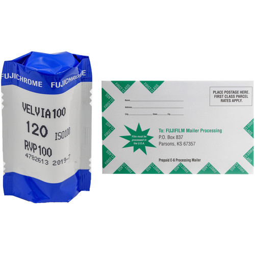 FUJIFILM Fujichrome Velvia 100 Professional RVP 100 Color Transparency Film with Processing Mailer Kit (120 Roll Film)