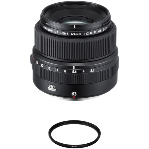 FUJIFILM GF 63mm f/2.8 R WR Lens with UV Filter Kit