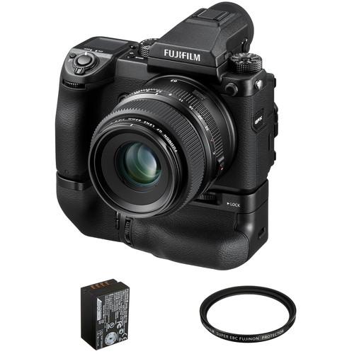 FUJIFILM GFX 50S Medium Format Mirrorless Camera with 63mm Lens and Battery Grip Kit