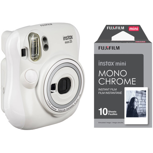FUJIFILM INSTAX Mini 25 Instant Film Camera with Monochrome Film Kit