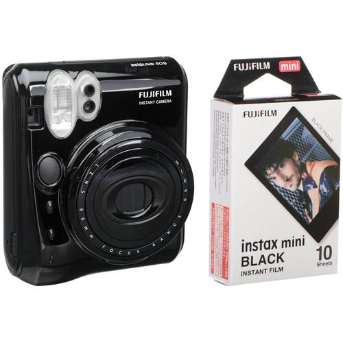 FUJIFILM instax Mini 50S Instant Film Camera with instax mini Black Pack of Film Kit