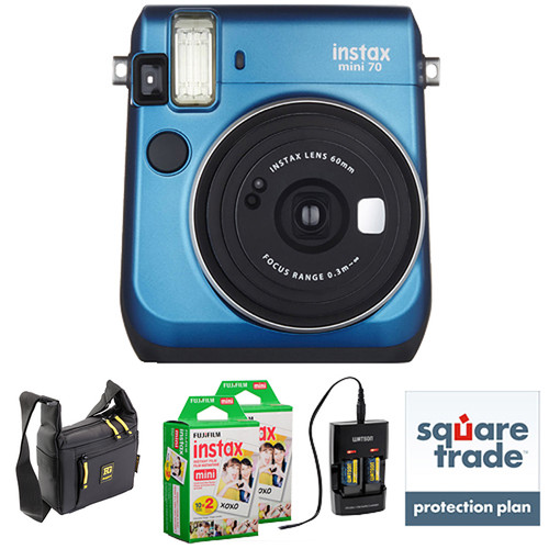 Fujifilm instax mini 70 Instant Film Camera Deluxe Kit (Island Blue)