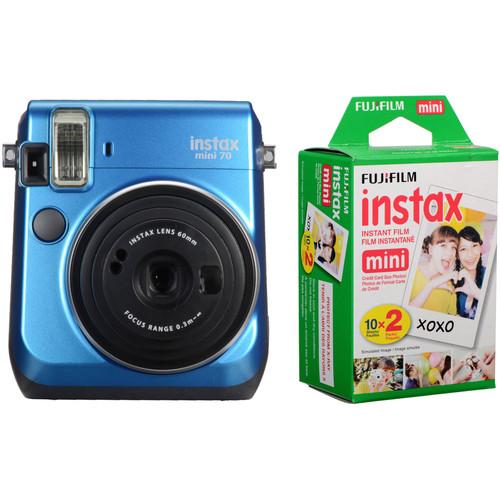 Fujifilm instax mini 70 Instant Film Camera Kit with 20 Sheets instax Film (Island Blue)