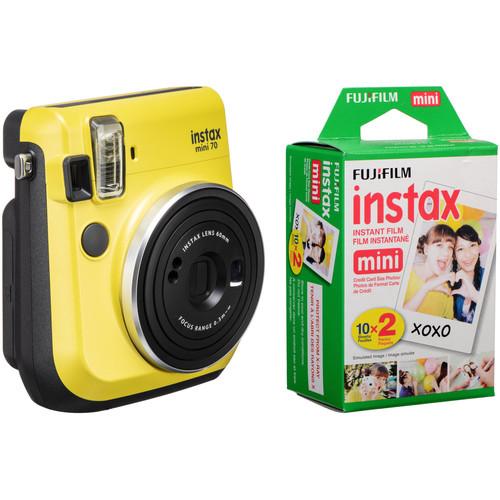 Fujifilm instax mini 70 Instant Film Camera Kit with 20 Sheets instax Film (Canary Yellow)