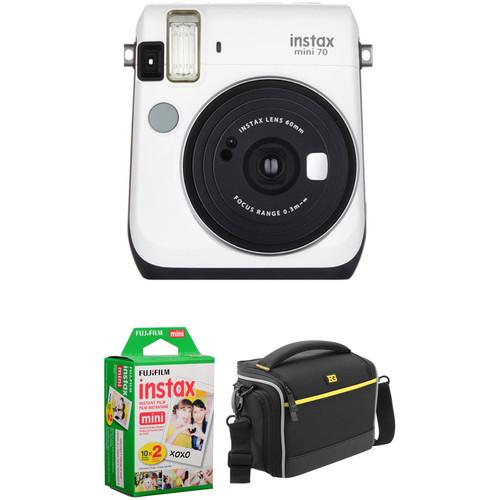 Fujifilm instax mini 70 Instant Film Camera Basic Kit (Moon White)
