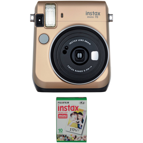 Fujifilm instax mini 70 Instant Film Camera with Single Pack of Film Kit (Stardust Gold)