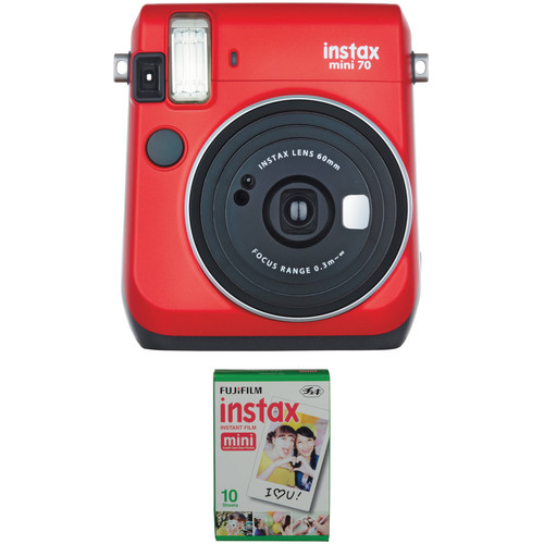 Fujifilm instax mini 70 Instant Film Camera with Single Pack of Film Kit (Passion Red)