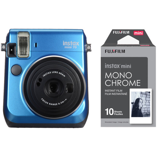 Fujifilm instax mini 70 Instant Film Camera with Monochrome Film Kit (Island Blue)