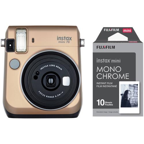 Fujifilm instax mini 70 Instant Film Camera with Monochrome Film Kit (Stardust Gold)