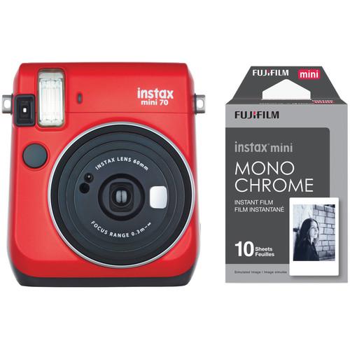 Fujifilm INSTAX Mini 70 Instant Film Camera with Monochrome Film Kit (Passion Red)