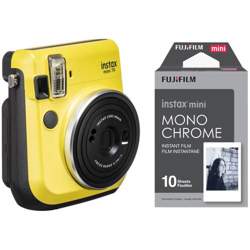 Fujifilm instax mini 70 Instant Film Camera with Monochrome Film Kit (Canary Yellow)