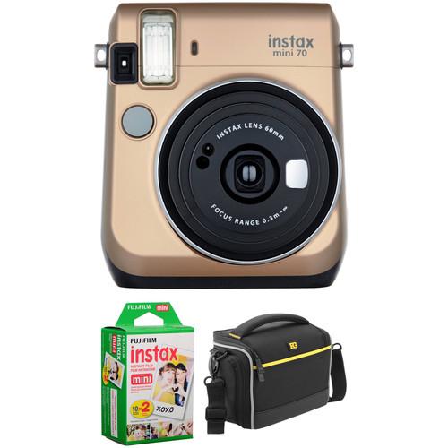Fujifilm instax mini 70 Instant Film Camera Basic Kit (Stardust Gold)