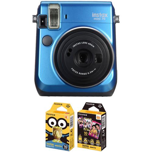 Fujifilm instax mini 70 Instant Film Camera with NYC Instant Film Kit (Island Blue)