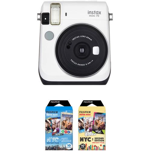Fujifilm instax mini 70 Instant Film Camera with NYC Instant Film Kit (Moon White)