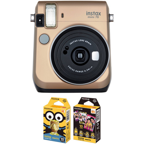 Fujifilm instax mini 70 Instant Film Camera with NYC Instant Film Kit (Stardust Gold)