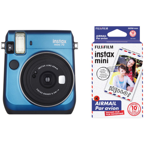 Fujifilm instax mini 70 Instant Film Camera with Candy Pop Film Kit (Island Blue)