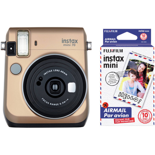 Fujifilm instax mini 70 Instant Film Camera with Candy Pop Film Kit (Stardust Gold)