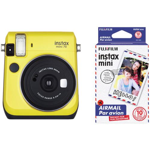 Fujifilm instax mini 70 Instant Film Camera with Candy Pop Film Kit (Canary Yellow)