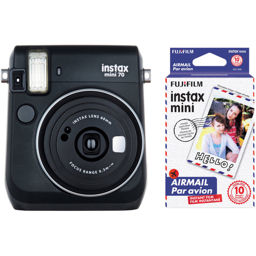Fujifilm instax mini 70 Instant Film Camera with Candy Pop Film Kit (Midnight Black)