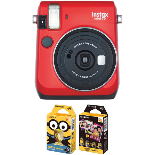 FUJIFILM INSTAX Mini 70 Instant Film Camera with NYC Instant Film Kit (Passion Red)