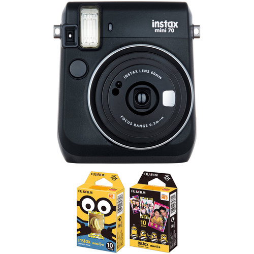 Fujifilm instax mini 70 Instant Film Camera with NYC Instant Film Kit (Midnight Black)