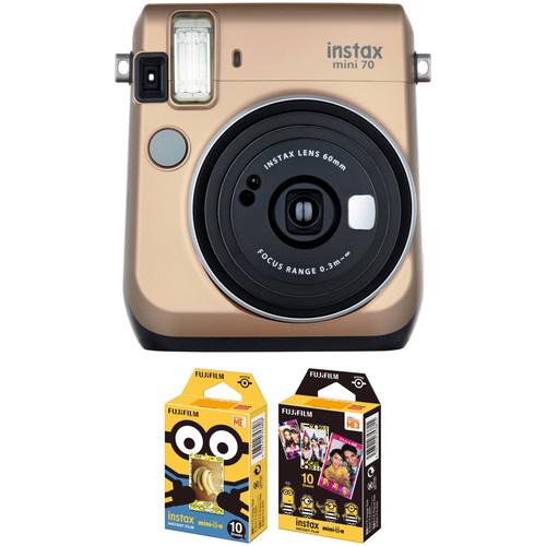 FUJIFILM INSTAX Mini 70 Instant Film Camera with Minions Instant Film Kit (Stardust Gold)