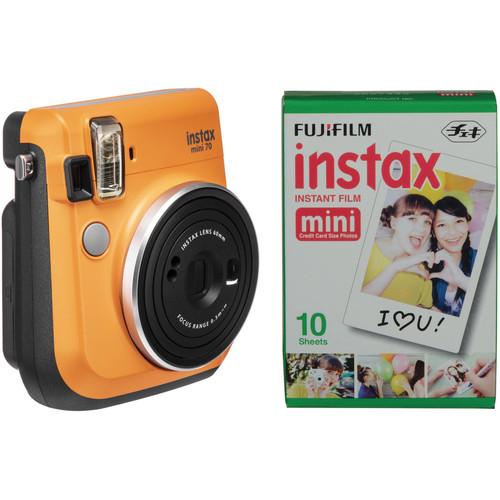 FUJIFILM INSTAX Mini 70 Instant Film Camera with Single Pack of Film Kit (Clementine Orange)