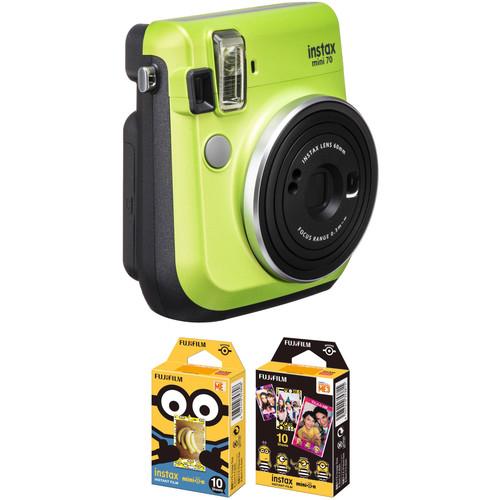 FUJIFILM INSTAX Mini 70 Instant Film Camera with Minions Instant Film Kit (Kiwi Green)