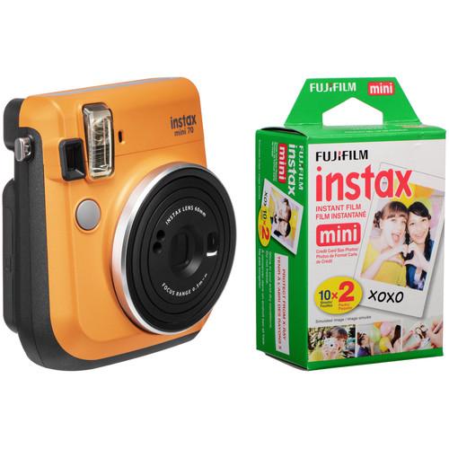 FUJIFILM INSTAX Mini 70 Instant Film Camera with 20 Sheets Film Kit (Clementine Orange)