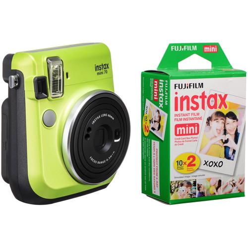 FUJIFILM INSTAX Mini 70 Instant Film Camera with 20 Sheets Film Kit (Kiwi Green)