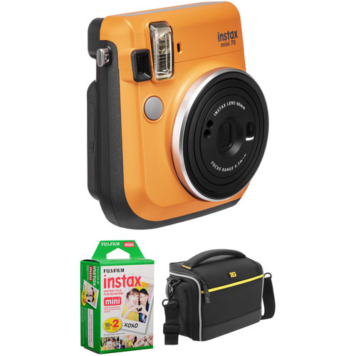 FUJIFILM INSTAX Mini 70 Instant Film Camera Basic Kit (Clementine Orange)