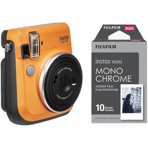 FUJIFILM INSTAX Mini 70 Instant Film Camera with Monochrome Film Kit (Clementine Orange)